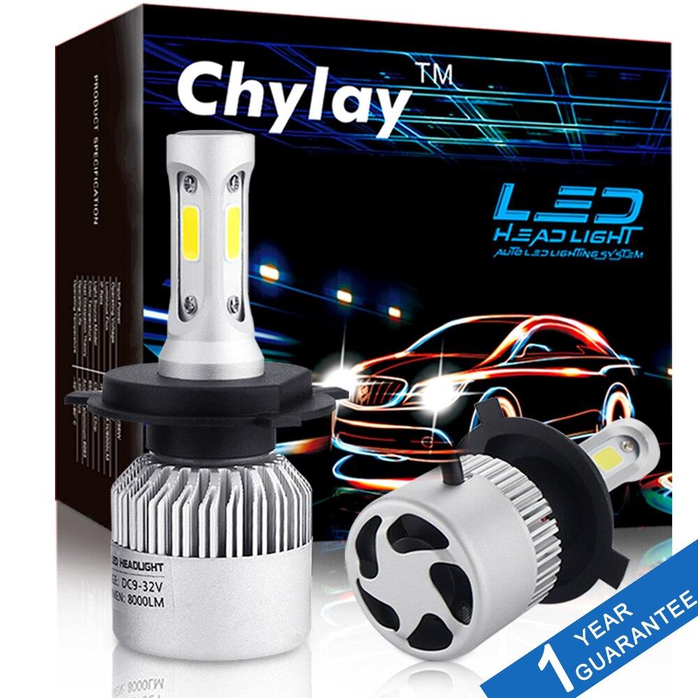 2 piezas H4 LED H7 H11 H1 H3 9005 9006 Auto coche faro 72 W 8000LM alta bajo haz de luz automóviles lámpara blanco 6500 K bombilla