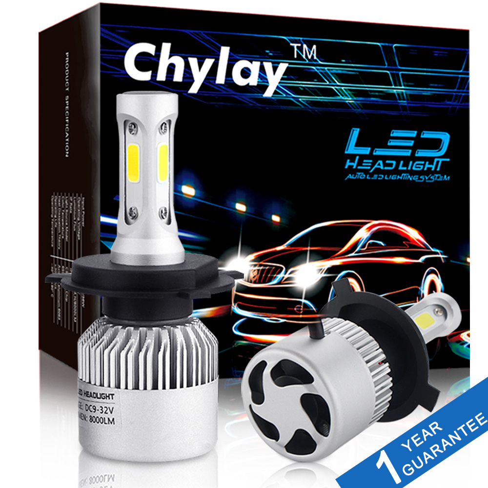 2Pcs H4 LED H7 H11 H1 H3 9005 9006 Auto Car Headlight 72W 8000LM High Low Beam Light Automobiles Lamp white 6500K Bulb  2pcs led headlight 72w kit 16000lm kit h4 high low beam h7 9005 9006 hb4 cob s2 auto car light all in one automobile lamp 6500k