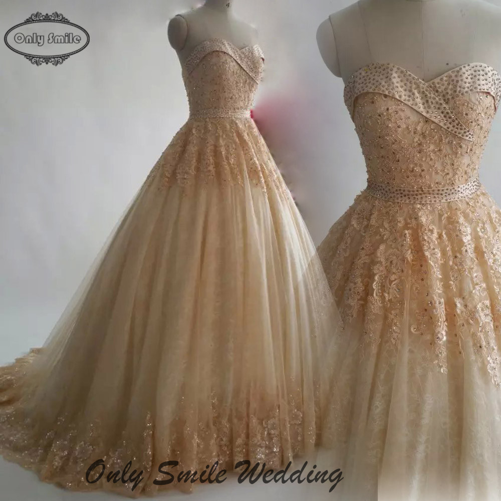 Champagne Color Wedding Dresses Of Zj2446 Actual Photo Strapless Ball Gown Gold Beading