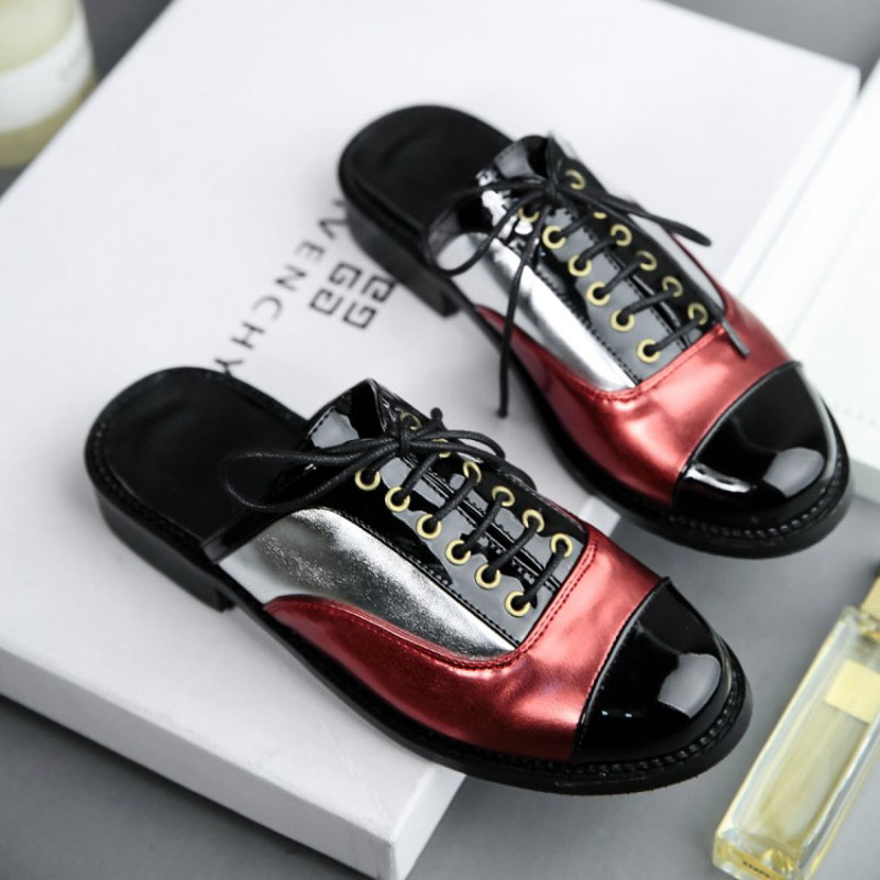 Plus Size 30-50 Woman Half Slides Flats Spring Summer Low Heel PU Patent Leather Women Sandals Fashion Oxford Shoes For Women (23)