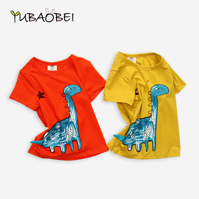85a74b57f Cute Cotton Child Cartoon Orange Yellow Boy & Girls T Shirt Funny Dinosaur  Top Quality Comfortable Fabric Shirt For Little Kids