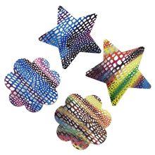 Женские одноразовые накладки на грудь Чехлы самоклеющиеся Rave голограмма Радужная рыба весы в форме сердца, звезды Стикини 20 пар
