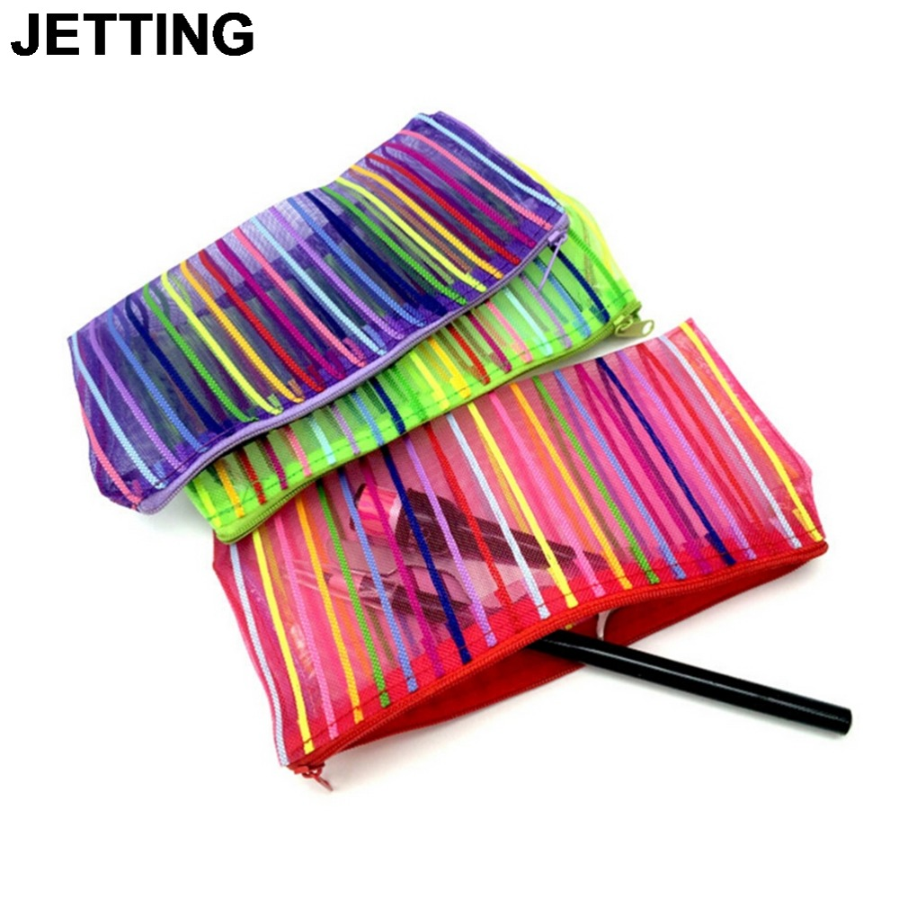 JETTING Portable Rainbow Cosmetic Bag Fashion Zipper Travel Make Up Bag Letter Makeup Case Pouch Toiletry Organizer Holder