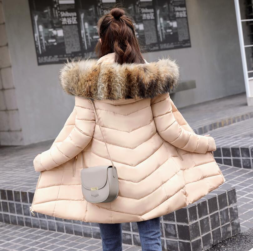 Damska kurtka zimowa sztuczne duże futro kołnierz kobiet