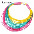 2016 New Fashion Jewelry For Women Colourful Bohemian Multilayer Choker Necklace Leather Rope Statement Necklace N31041