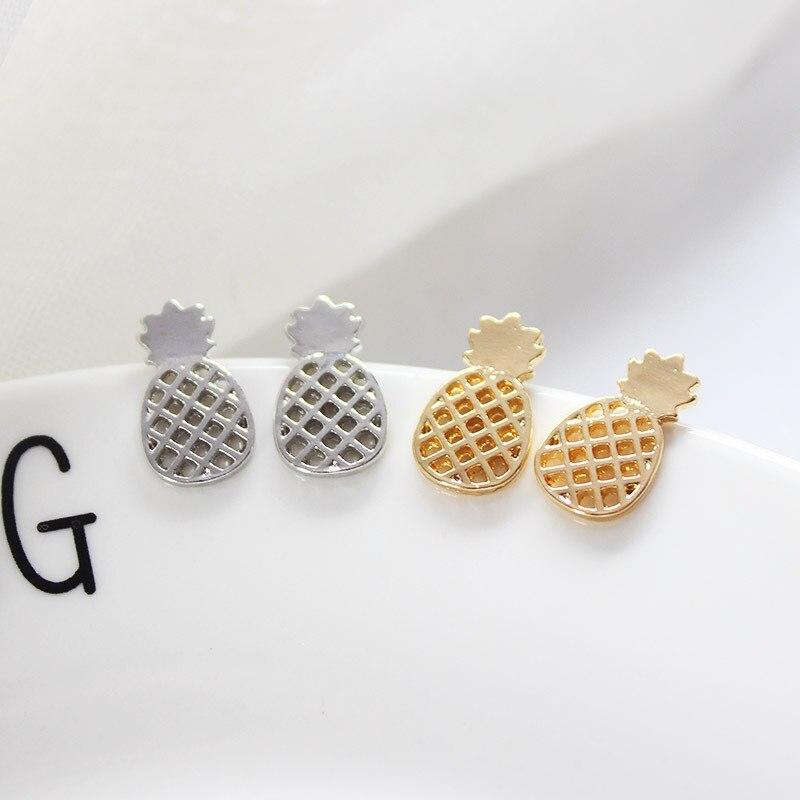 Boho Pineapple Fruit Small Earrings For Women Men Female ZA Bijoux Gold Color Statement Dangle Wedding Jewelry in Drop Earrings from Jewelry Accessories