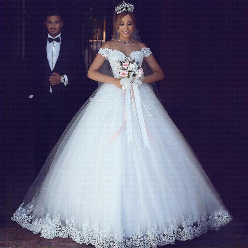 White Lace Appliques Ball Gown Cheap Wedding Dresses 2019 Off The Shoulder Short Sleeves Vestido De Noiva