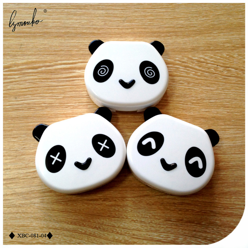 Symbol Of The Brand Lymouko Hot Sale Cute White Color Panda Holder Contact Lens Case With Mirror Portable Contact Lenses Box For Gift Men's Glasses