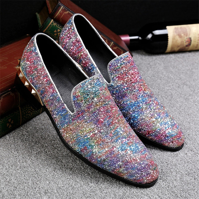 Choudory Rivets Glitter Round Toe Loafers Men Shoes Fashion Casual Flats  Zapatillas Hombre 2017 Sparkling Wedding Shoes Size 46 e90a2396e4c7