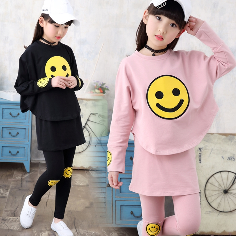 Teenage Girls Clothes Set Toddler Girls Clothing Long Sleeve Print Shirts + Pants 2pcs Children Tracksuit Back to School Outfits kids stripe outfits for teenage girls long sleeve clothes sets girls school shirts