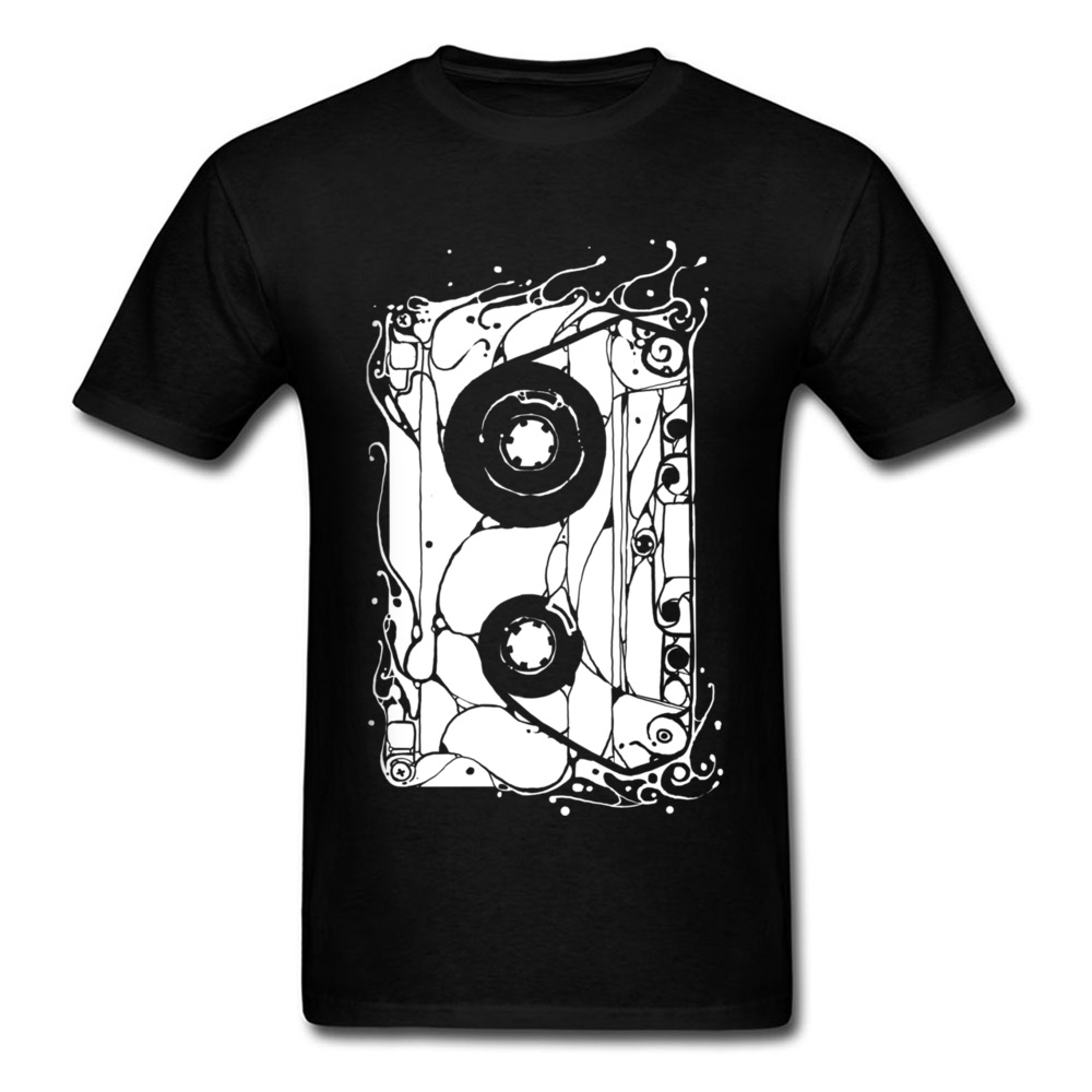 Old Pattern Cassette Graphic T-Shirts For Men Vintage House Music T Shirt <font><b>AF</b></font> <font><b>Tshirt</b></font> Happy Tape Tee Shirts Top Quality Clothes image