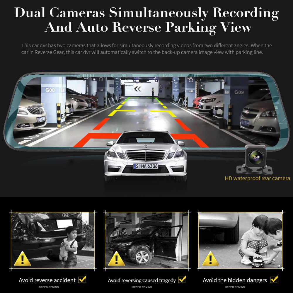 HGDO 10 אינץ מגע מסך רכב DVR מבט אחורי מראה דאש מצלמת Full HD רכב מצלמה 1080P מצלמה אחורית עדשה כפולה מקליט וידאו