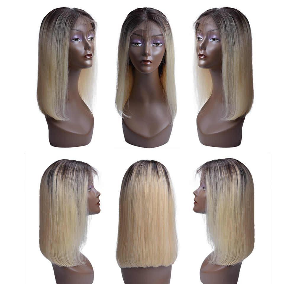 Парики из натуральных волос, блонд, с кружевом, Remy, бразильские волосы, причёска Боб с прямыми волосами, парик 613, парик с кружевом спереди для черных женщин 1B/серый 1b/розовый