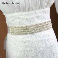 Elegant Sparkly Crystal Bridal Belts Beaded Wedding Sashes 2018 Waistband Diamond belt Wedding Accessories ceinture mariage