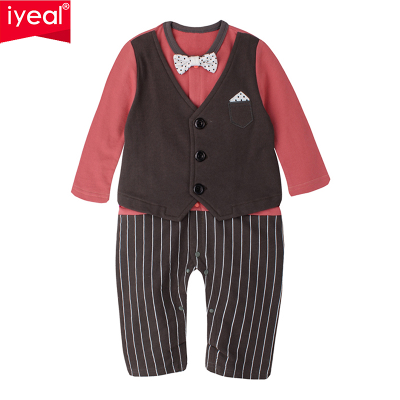 IYEAL Newborn Baby Boy Rompers 100% Cotton Fake Two Pieces Bow Gentleman Party Suit Infant Jumpsuit Kids Toddler Boys Clothes nyan cat baby boy clothes short sleeves gentleman bow tie vest romper hat 2pcs set outfit jumpsuit rompers party cotton costume