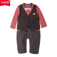 IYEAL Newborn Baby Boy Rompers 100 Cotton Fake Two Pieces Bow Gentleman Party Suit Infant Jumpsuit