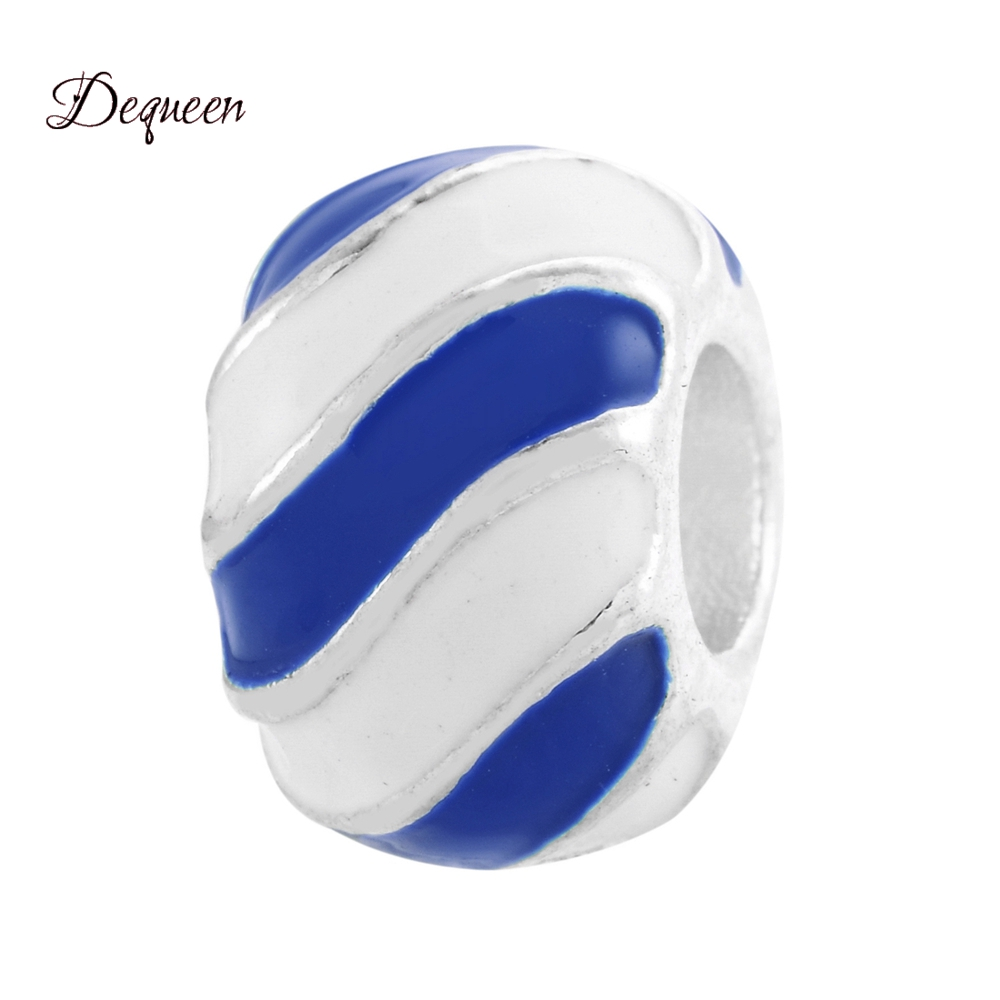 Dequeen Love Series Perles Black and White Stripes Enamel Charms Beads Fits DIY Pulsera Bracelets Berloque Wholesale Beads