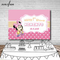 Pink Minnie Girls Birthday Party Backdrop Newborn Baby Shower Banner Dessert Table Background For Photo Studio Custom Name Date