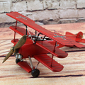 Red Baron three wing aircraft 1917 German Plane Metal Simulation Model Diecast Handmade fire ballon Iron crafts collection