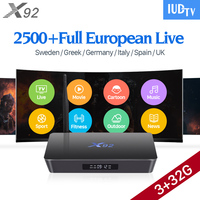 4 K Zweden IPTV Europa 3 GB X92 Smart Android 7.1 IP TV Box S912 2500 + IUDTV Abonnement IPTV Frans Turks Arabisch IPTV Top doos