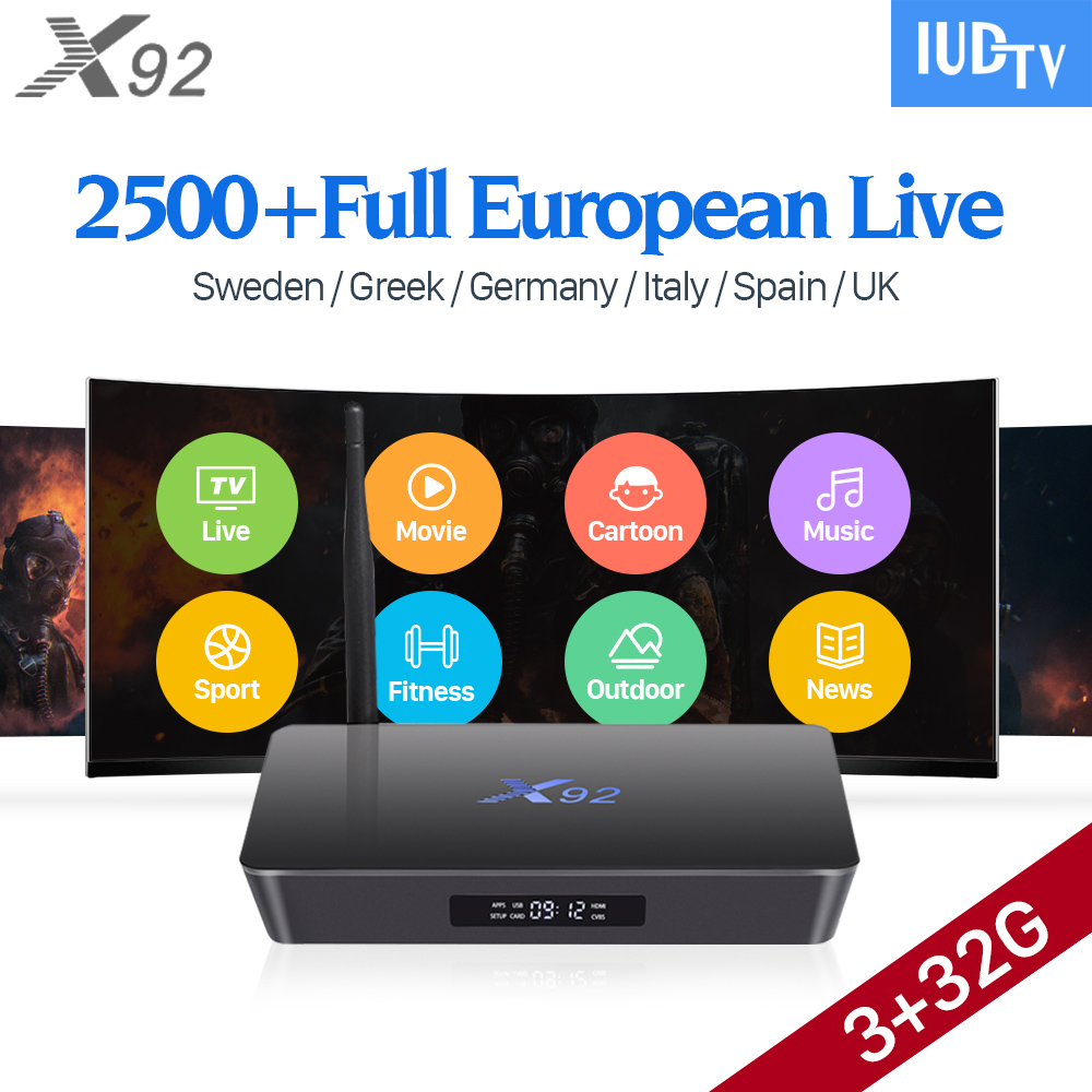 4K Sweden IPTV Europe 3GB X92 Smart Android 7.1 IP TV Box S912 2500+ IUDTV Subscription IPTV French Turkish Arabic IPTV Top Box
