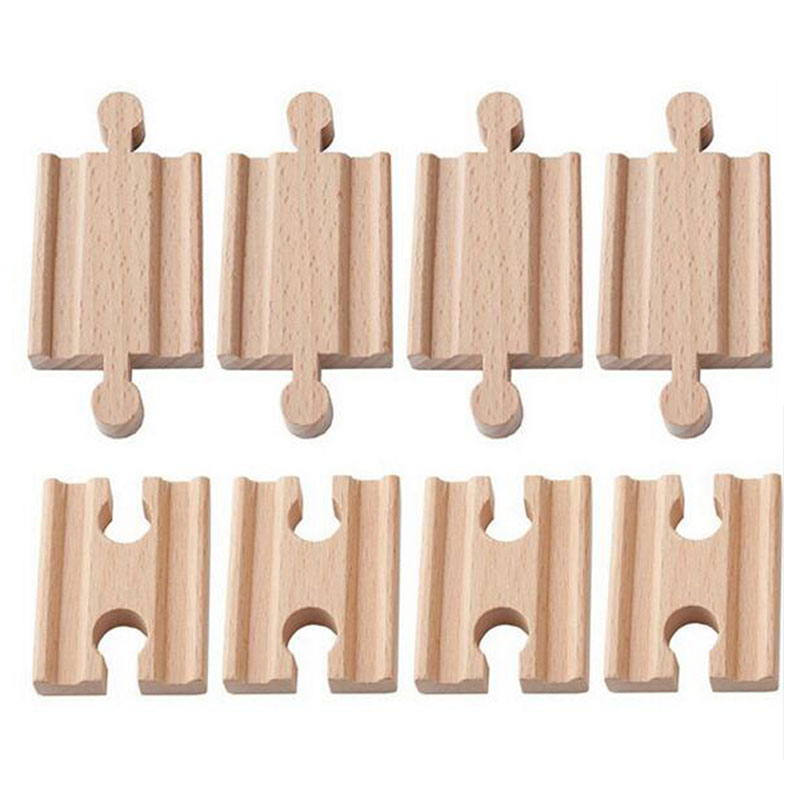 Friends 10pcs/lot Male-Male Female-Female Wooden Train Tracks Set Adapters Railway Accessories Eucational Toys Bloques