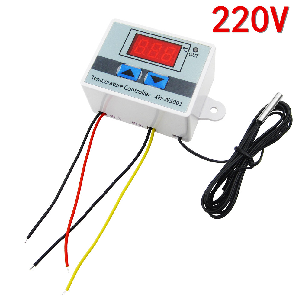 220V W3001 Digital LED Temperature Controller 10A Thermostat Control Switch Probe XH-W3001 digital thermostat control w1411 220v switch temperature thermometer controller start stop value with waterproof probe 39