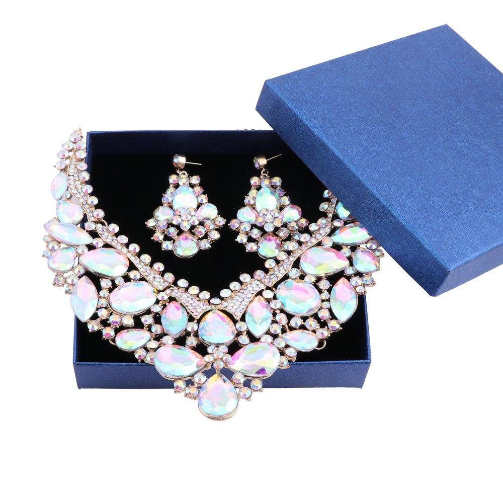 Collier Femme rétro déclaration Collier ras du cou boucle d'oreille couleur or cristal fleur & pendentifs Maxi femmes Collares et coffrets cadeaux