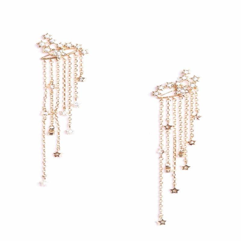 Pendientes de borla de cristal ROMAD para mujer, pendientes de cadena de plata y oro para mujer, Pendientes colgantes femeninos con diamantes de imitación, joyería femenina R3