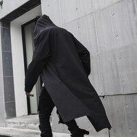 Spring New Windbreaker Men's Long Dark Black Men's Wizard Cloak Coat Robes Long Jacket Men Windbreaker Mens Gothic Fashion