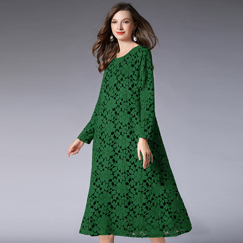 Women Hollow Out Lace Dresses Plus Size 2019 Spring Lady Solid Green Red Solid Long Sleeve Elegant Dress Female Clothing4XL 3XL in Dresses from Women 39 s Clothing