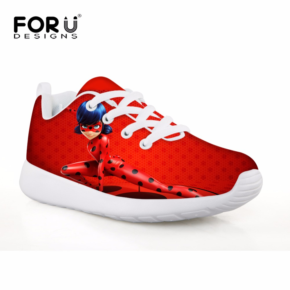 FORUDESIGNS Football Boots for Girls Children's Sneakers Kawaii Miraculous Ladybug Printing Fitness Sports Running Kids Shoes tiebao e1018c professional kids indoor football boots turf racing soccer boots training football shoes
