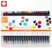 20colors Japan Sakura Akashiya Marker Brush Pen Watercolor Painting Nylon Soft Tip Paintbrush Drawing Manga Waterbrush Markers
