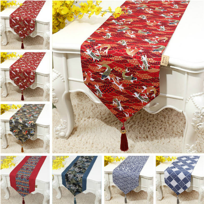 Cotton Linen Table Runner Japanese Vintage Wave Fish Printed Tablecloth Home Party Wedding Decor