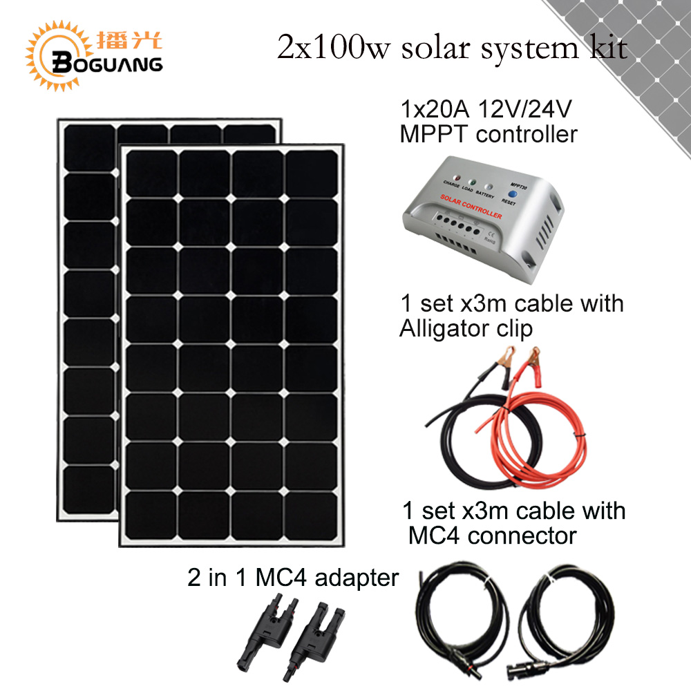 Solarparts 2x100W Monocrystalline Solar Module high efficiency back contact solar panel cell system DIY kits RV marine home camp solarparts 100w diy rv marine kits solar system1x100w flexible solar panel 12v 1 x10a 12v 24v solar controller set cables cheap