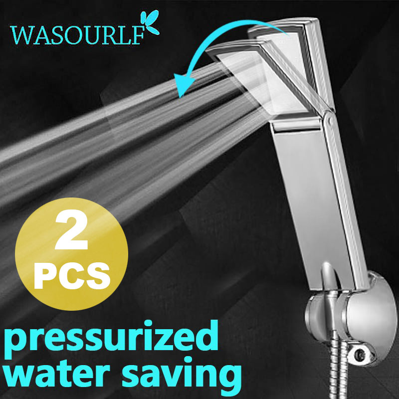 Фотография wasourlf 2 pcs free shipping oxygenics water saving chrome abs plastic shower head boost pressurize square hand shower bathroom