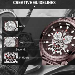 Image 5 - Naviforce 럭셔리 브랜드 시계 남자 골드 쿼츠 스포츠 방수 군사 손목 시계 시계 전체 스틸 시계 relogio masculino