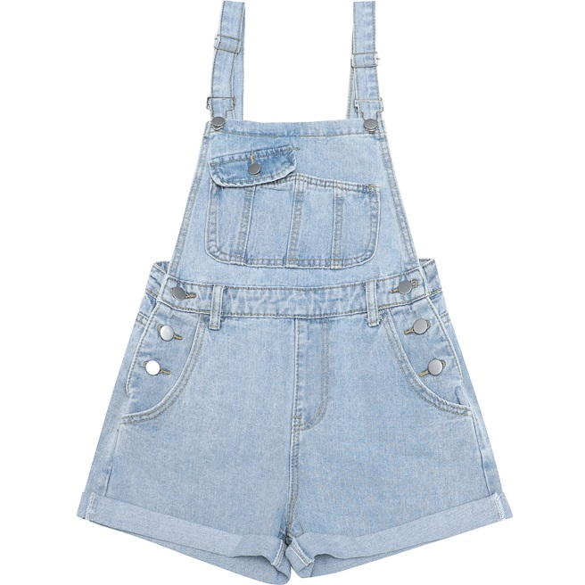 Women Denim Overalls Shorts 2018 Summer Casual Loose Design Suspender Short Jean Pants Dungarees With Big Pockets for Girls Blue