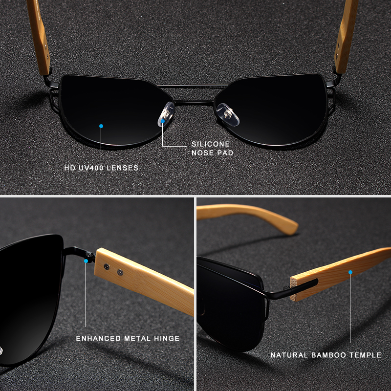 Image 4 - Original KINGSEVEN Brand Bamboo Cat Eye Sunglasses Polarized Metal Frame Wood Glasses Women Luxury Sun Glasses With Wood CaseMens Sunglasses   -