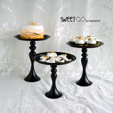 Black cake dish food dessert table European wedding high-legged iron stand creative snack plate