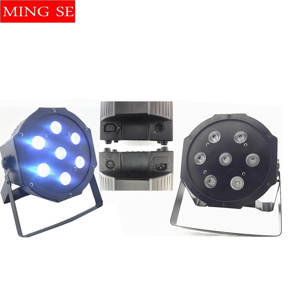 2pcs 10w cuentas de lámpara 7x10W led Par lights RGBW 4in1 flat par led dmx512 disco lights profesional stage dj equipment