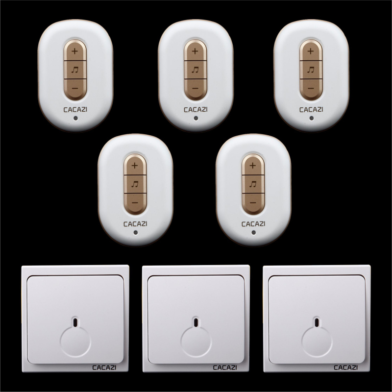 Free shipping! 3 transmitter + 5 Receiver New Wireless Doorbell With Remote Control Musical 48Tunes Digtal doorchime D9918 -3+5 цена