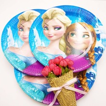 10pcs/set 7inch DISNEY Frozen Anna And Elsa Cartoon Plates Children Party Supplies Kid Funny Birthday Decoration