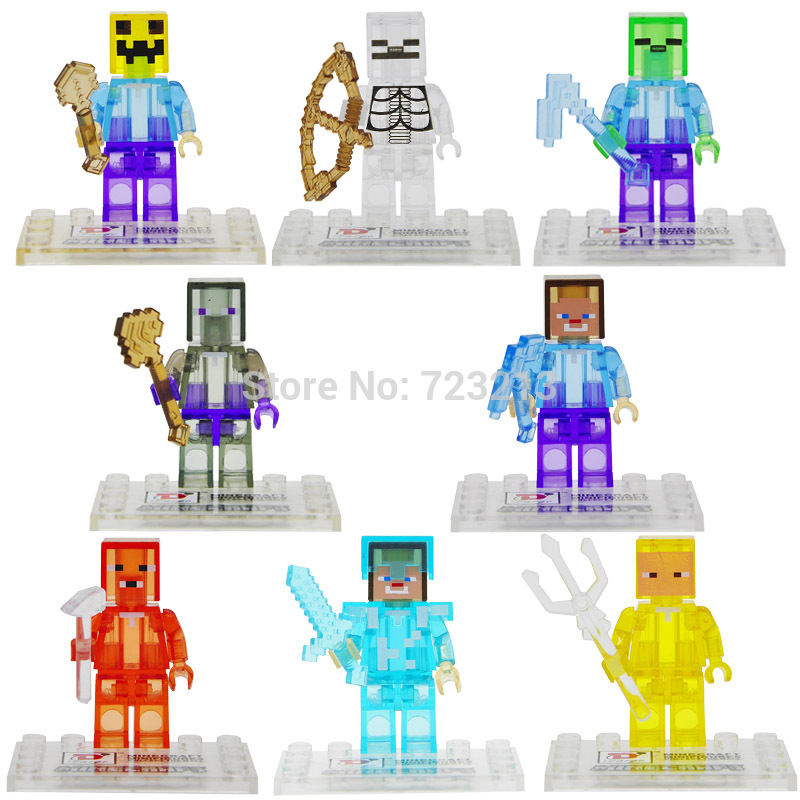 Single Sale Cartoon Game Figure Crystal Clear Translucent Building Blocks Set Model Bricks Toys For Children D851