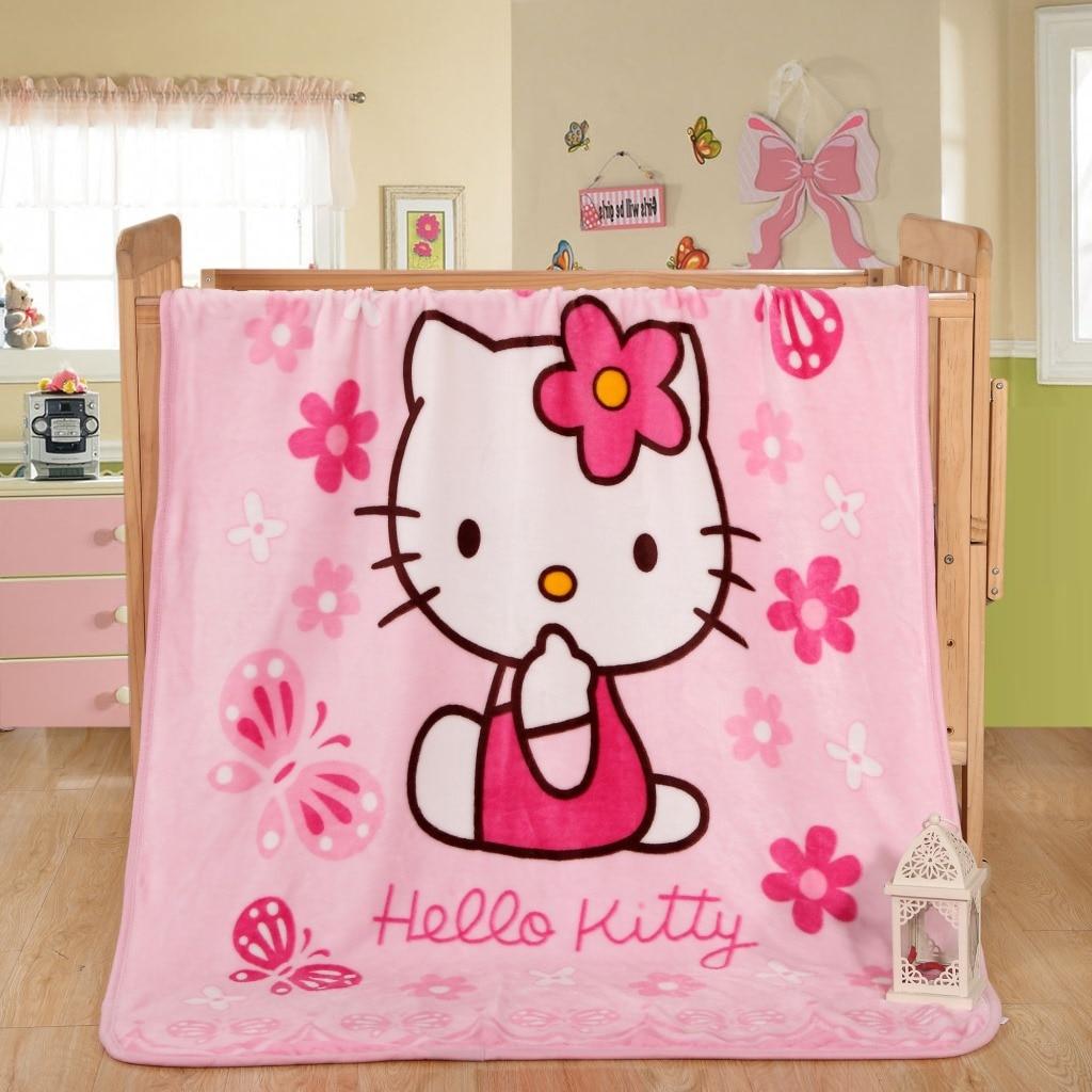 Cartoon Children Soft Throw Blankets Hello Kitty Doraemon Fleece Blanket Bedroom Warm Sofa Bed Sheets Free Shipping