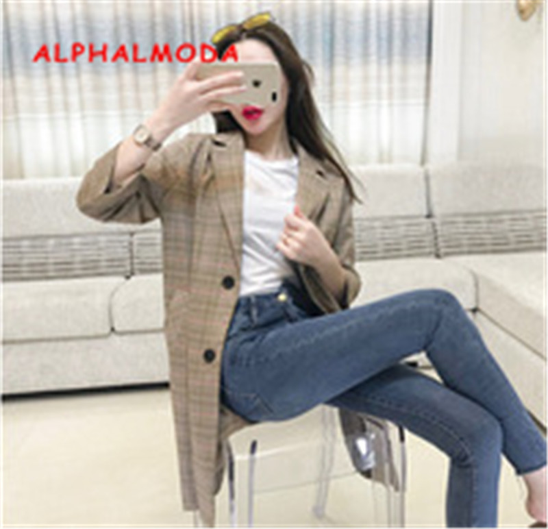ALPHALMODA 2018 Autumn Women Vintage Plaids Suits Rolled Sleeve Single Breasted Female Casual Thin Suit