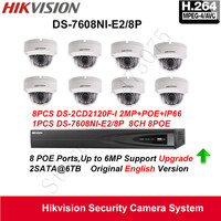 Hikvision Security CCTV Camera System Fixed Dome IP Camera HD 1080P 8pcs DS 2CD2120F I POE
