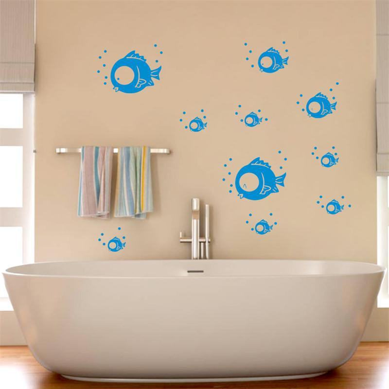 ... Wall Stickers For Bathrooms Diy 10pcs Spit Blue Fish Wall Stickers  Bathroom Tile ... Part 93