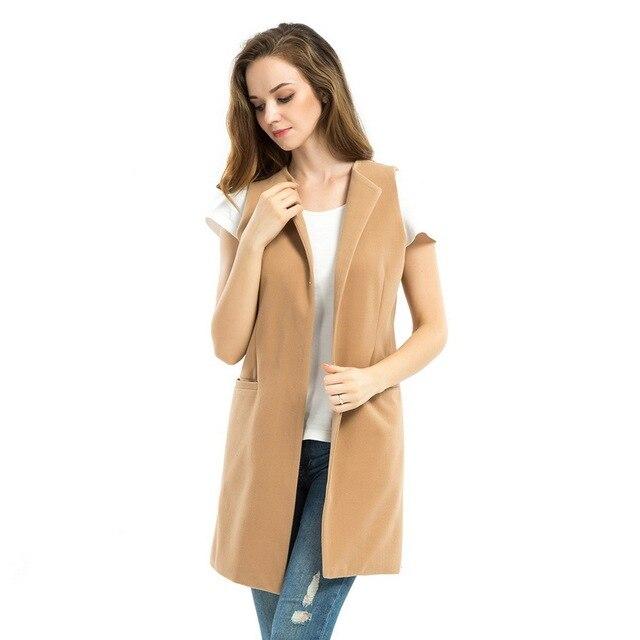 2017 New Women Spring Wool Blend Vest Waistcoat Ladies Winter Long Camel Vest Sleeveless Jacket Coat Plus Size Veste Femme Gilet