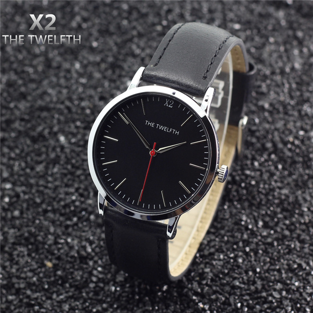 X2 THE TWELFTH Brand Luxury Casual Watch Men Genuine Leather/Alloy Urltra Thin Case Fashion Male Watches Quartz-Watch,X2-1210